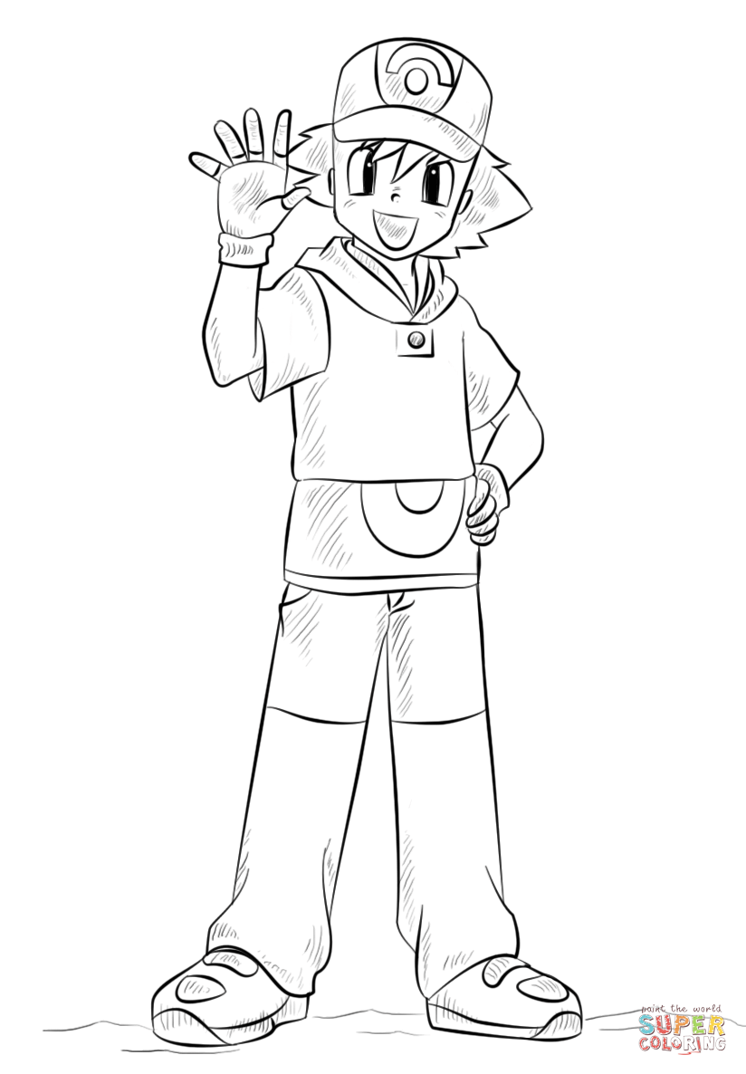Ash Ketchum Coloring Page Free Printable Coloring Pages