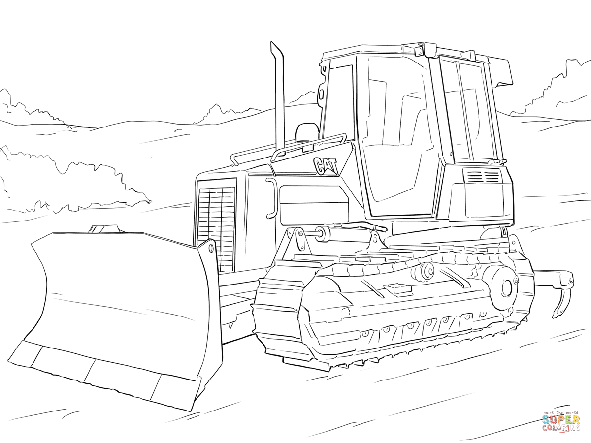 Caterpillar Bulldozer Coloring Page