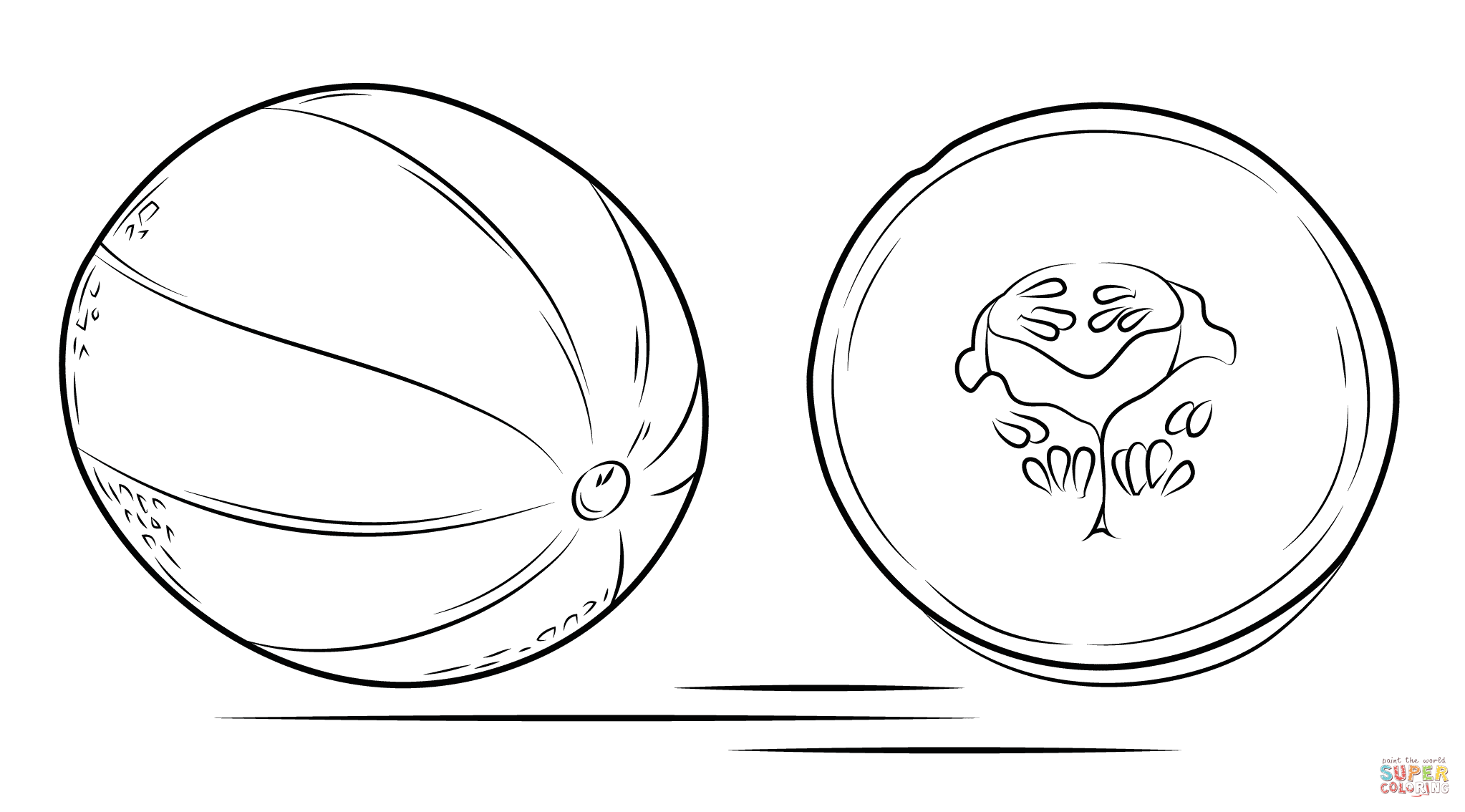 Ausmalbild Cantaloupe Und Ihr Querschnitt