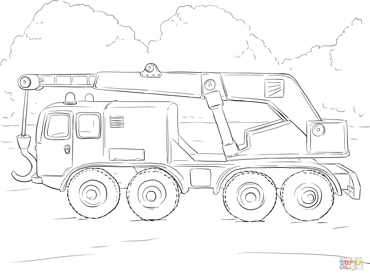 Crane Truck Coloring Page