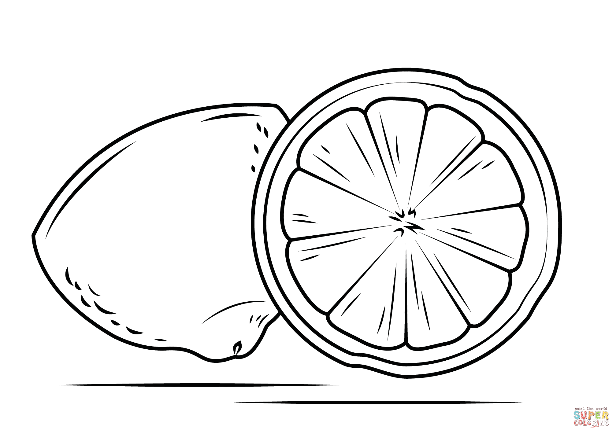 Lemon Cross Section Coloring Page