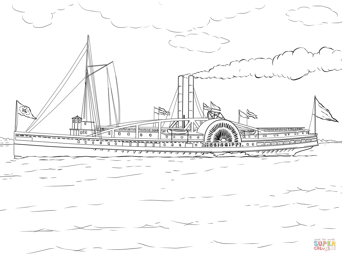 Mississippi Steamboat Coloring Page Free Printable Coloring Pages