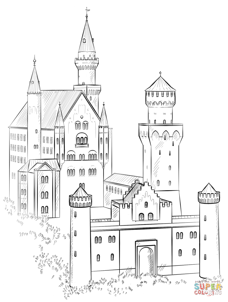 neuschwanstein castle coloring page free printable coloring pages