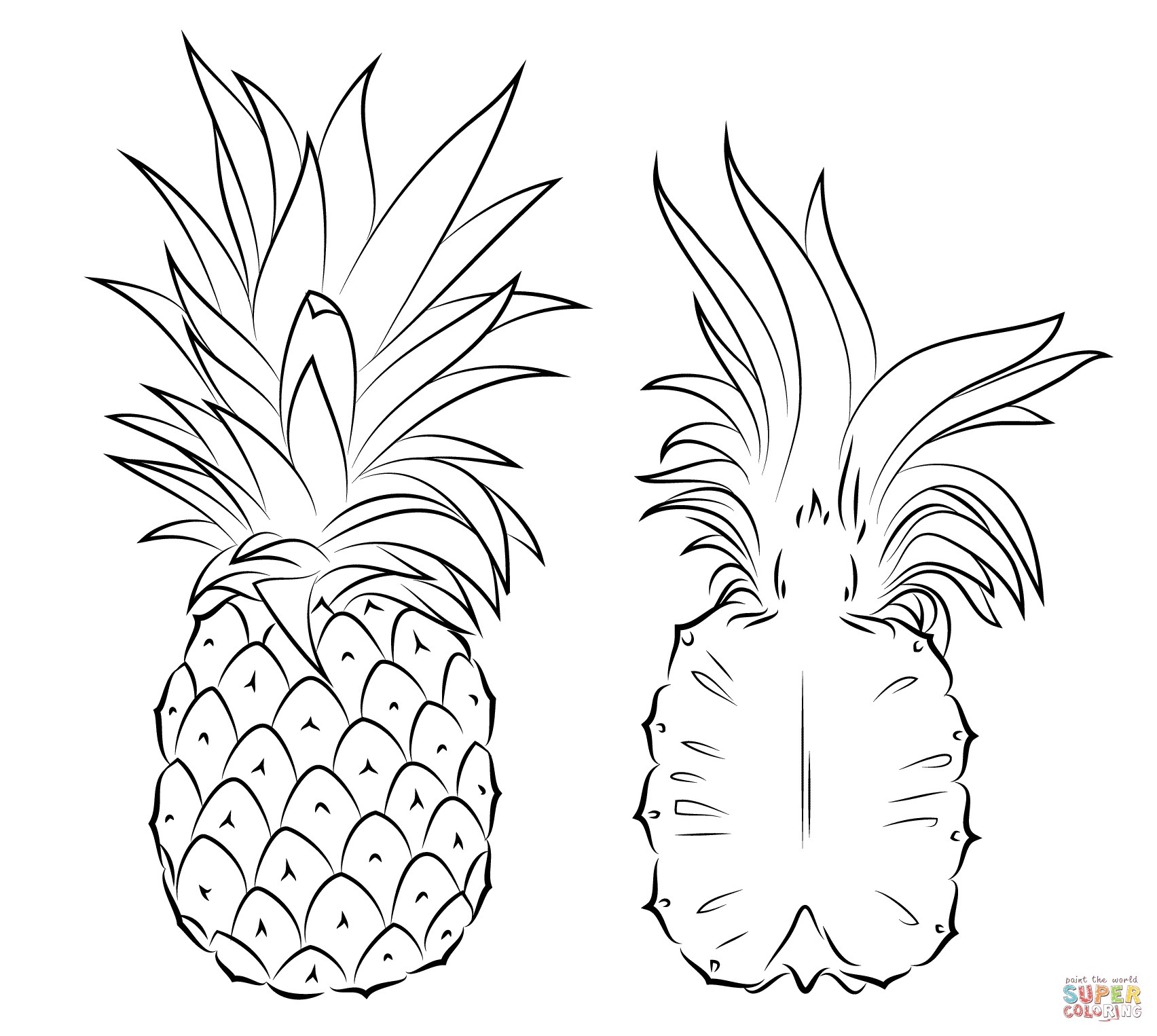 Pineapple And Cross Section Coloring Page