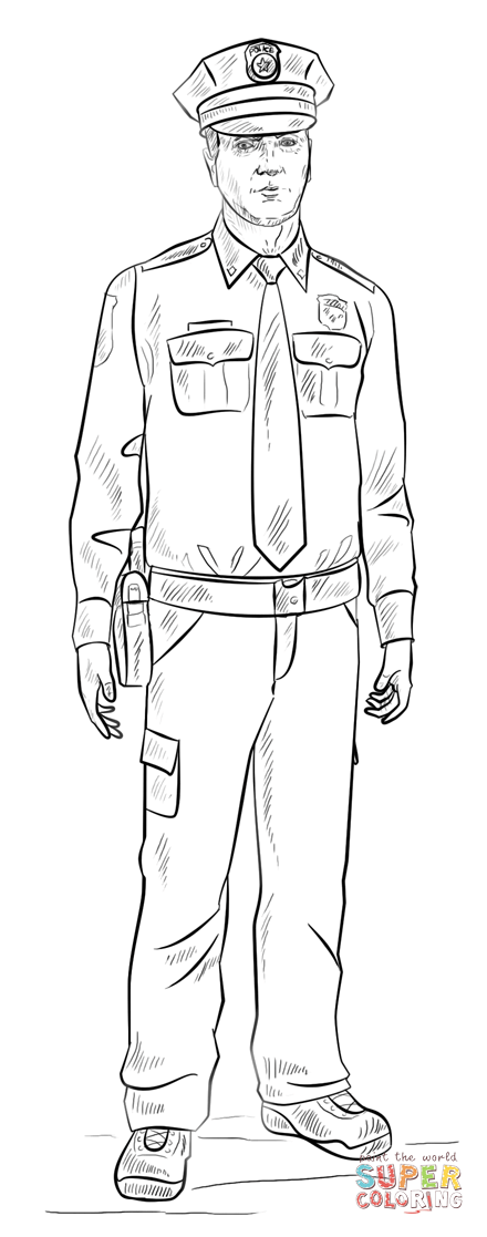 policeman coloring page free printable coloring pages