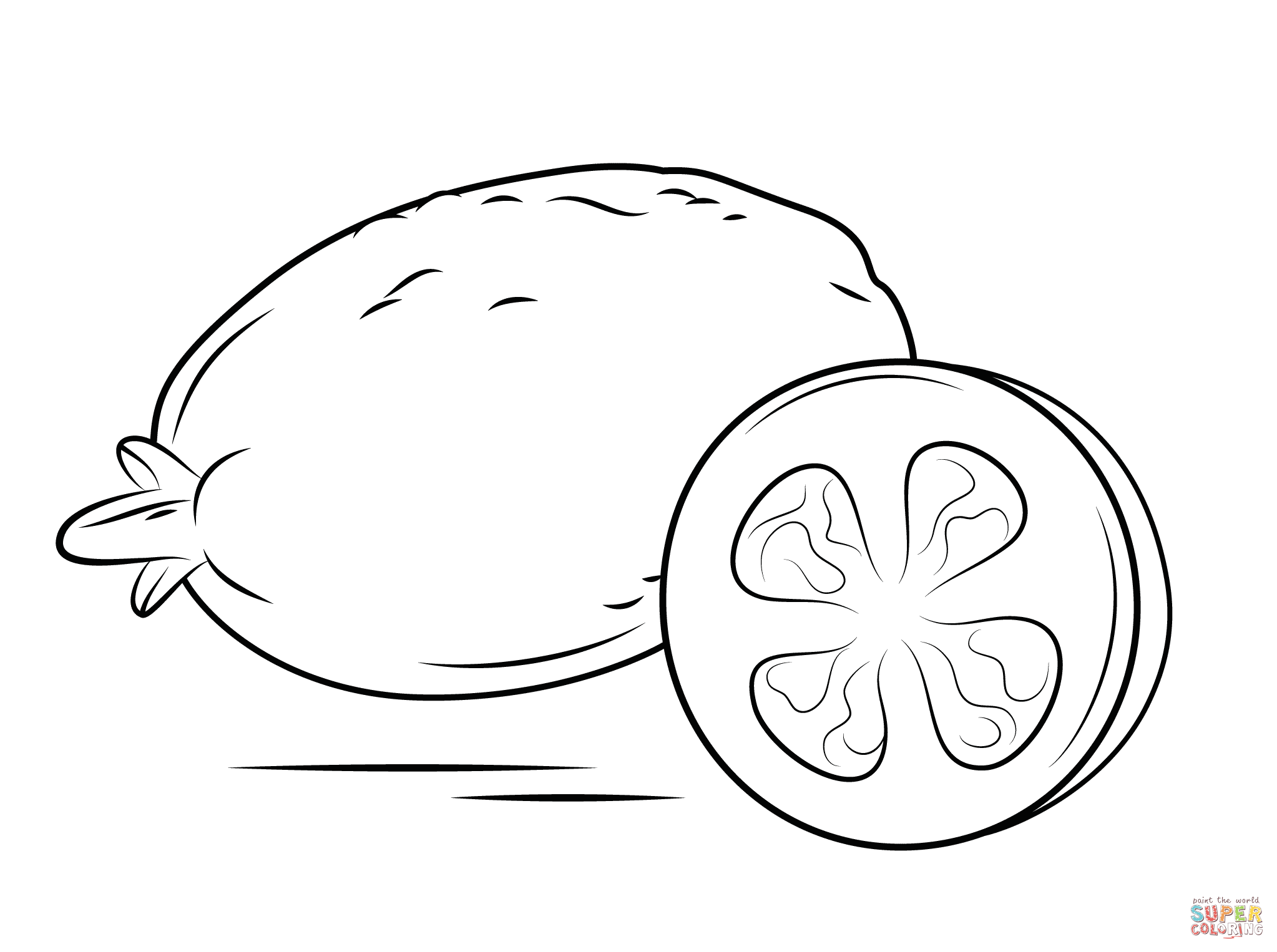 Whole Guava And Cross Section Coloring Page Free