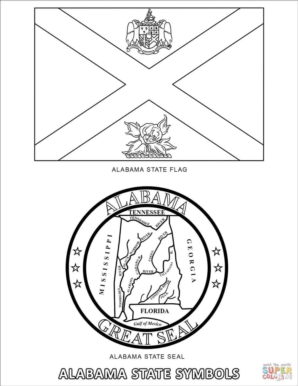 Alabama State Symbols Coloring Page