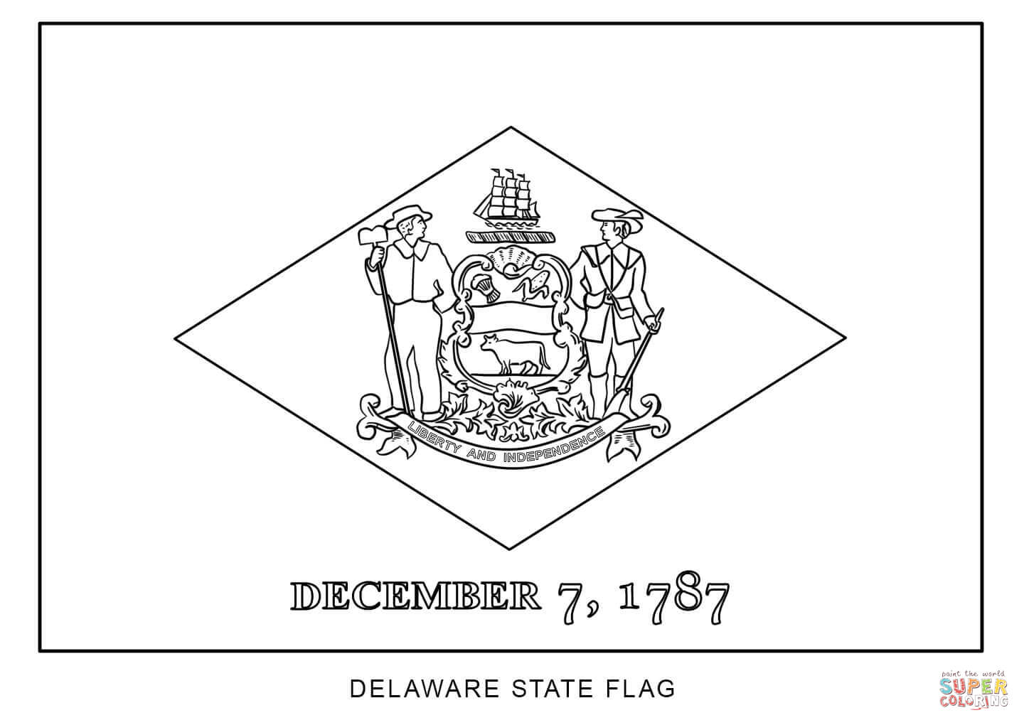 Flag Of Delaware Coloring Page