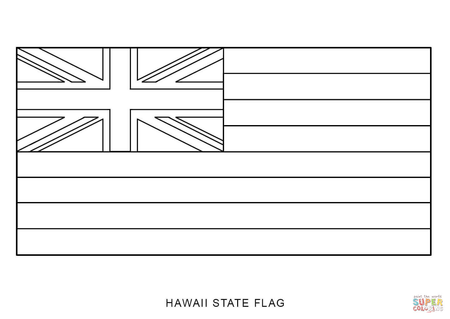 Flag Of Hawaii Coloring Page