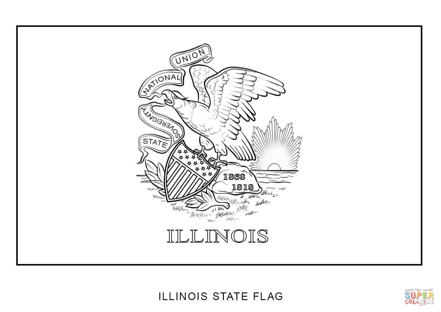 Flag Of Illinois Coloring Page