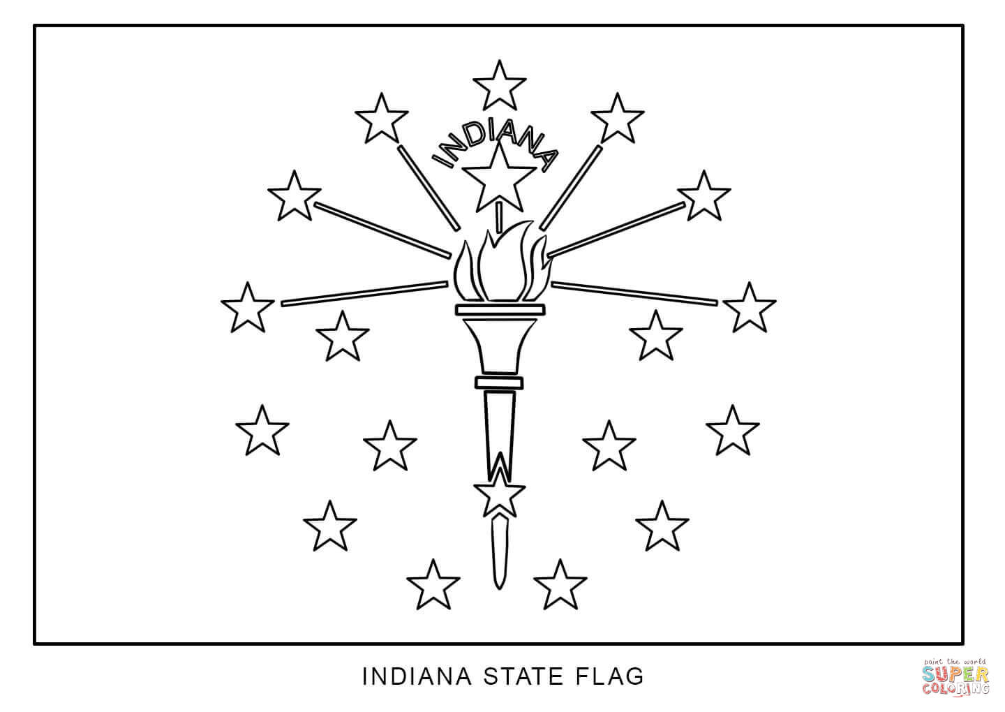 Flag Of Indiana Coloring Page