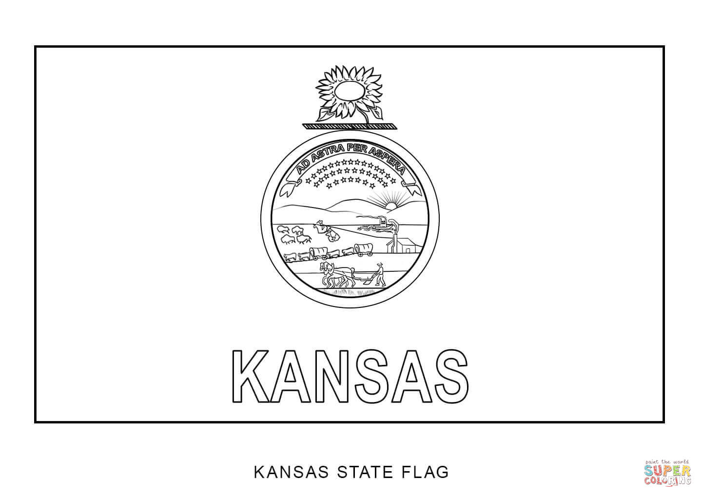 Flag Of Kansas Coloring Page