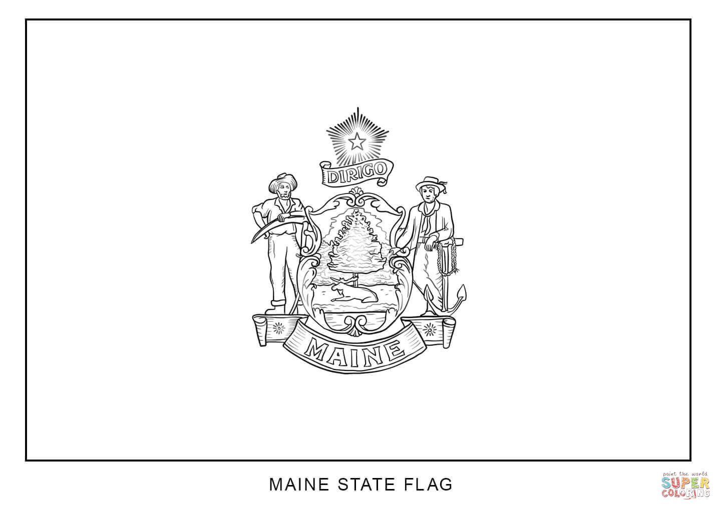 Flag Of Maine Coloring Page
