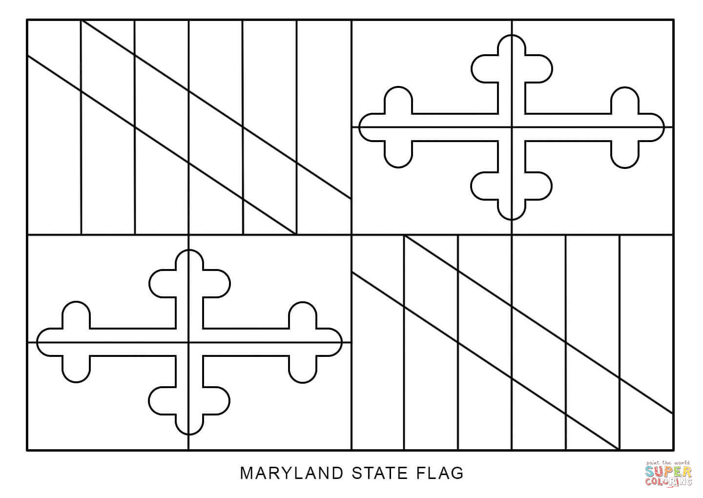 Flag Of Maryland Coloring Page