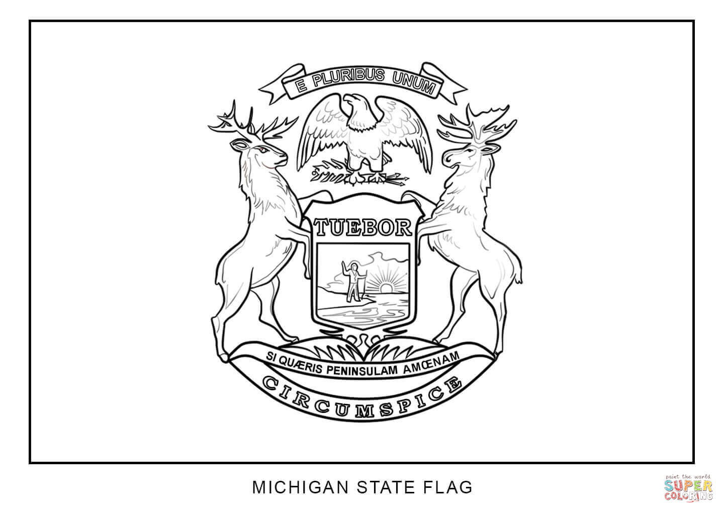 Flag Of Michigan Coloring Page