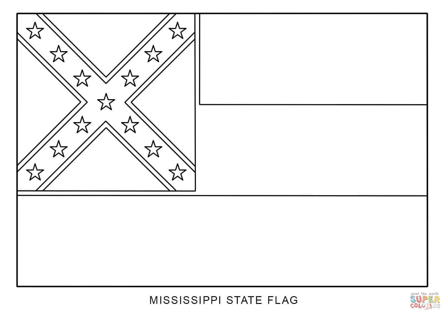 Flag Of Mississippi Coloring Page