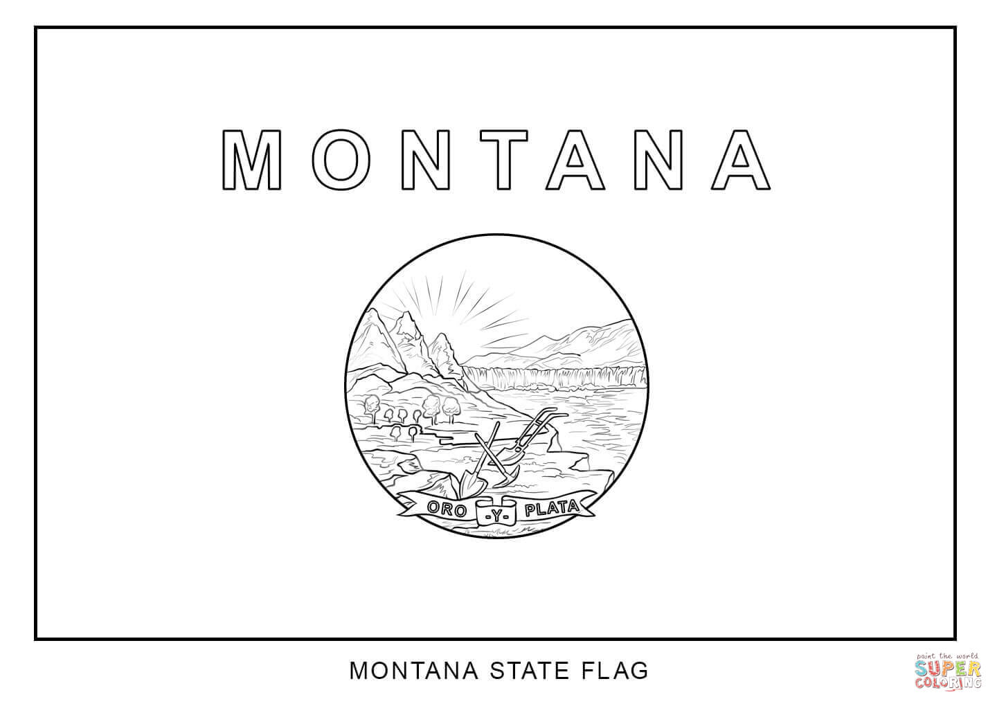 Montana Map Coloring Page Flag Of Montana Coloring Page Free Printable Coloring Pages