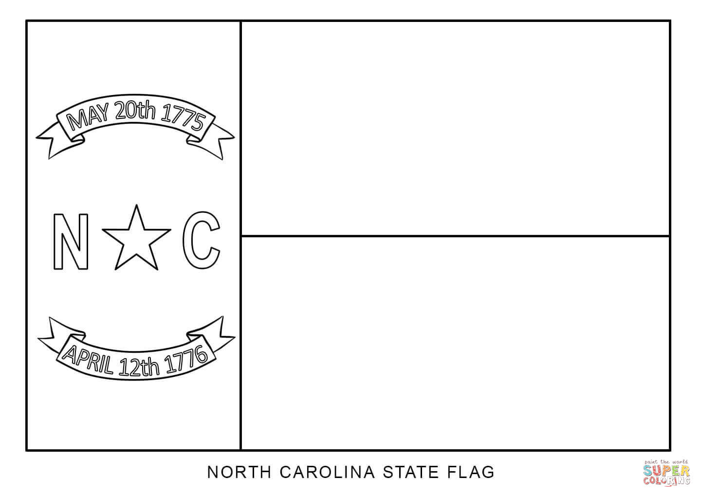 Flag Of North Carolina Coloring Page