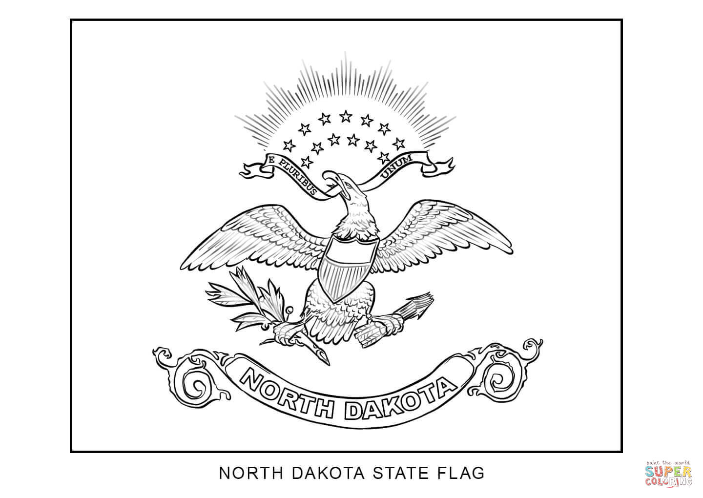 Flag Of North Dakota Coloring Page