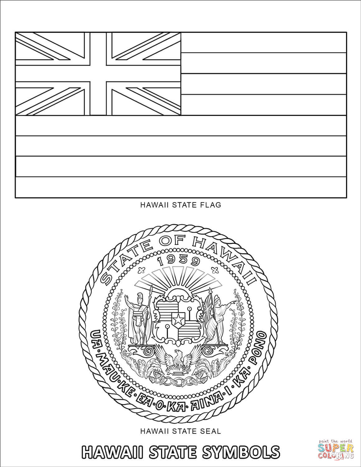 Hawaii State Symbols Coloring Page