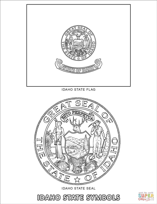 Idaho State Symbols Coloring Page