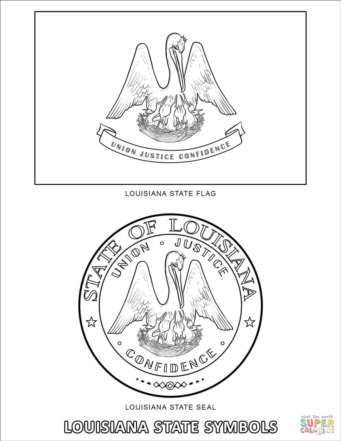 Louisiana State Symbols Coloring Page