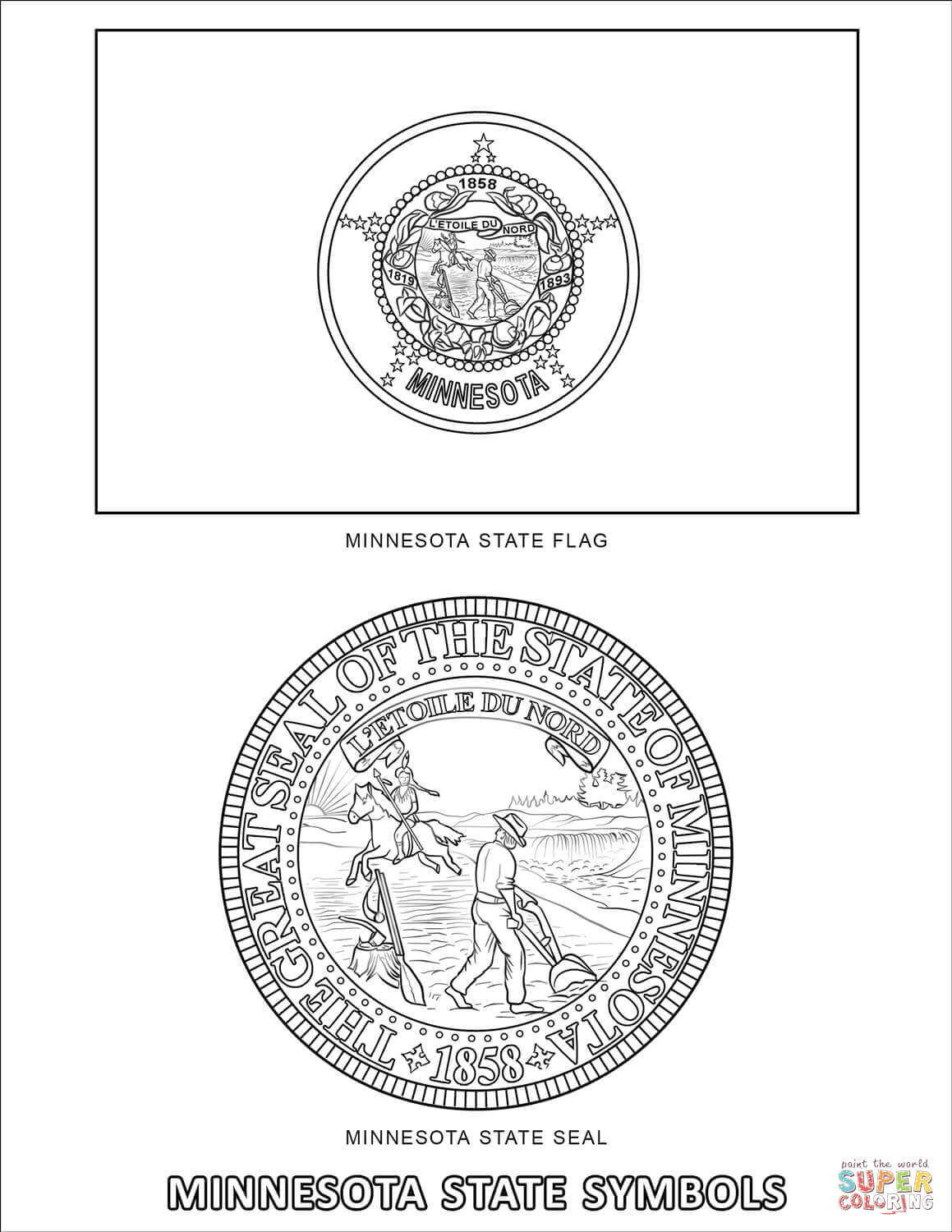 Minnesota State Symbols Coloring Page