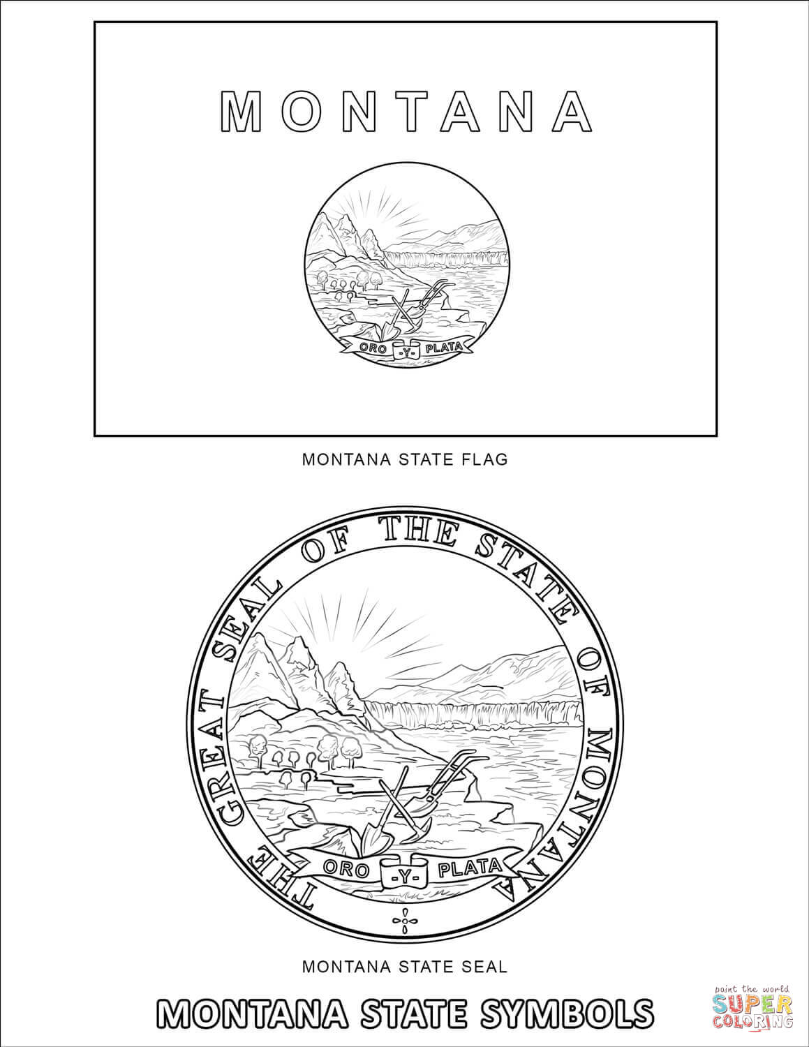 Montana State Symbols Coloring Page