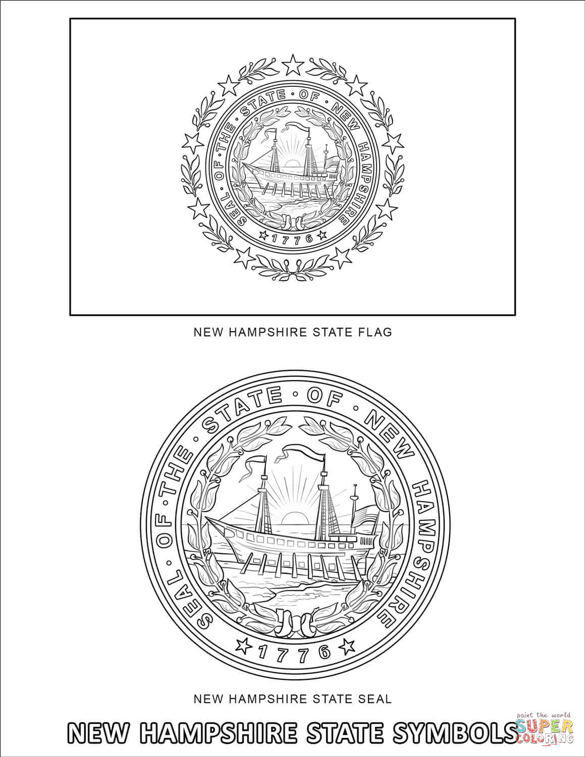 New Hampshire State Symbols Coloring Page
