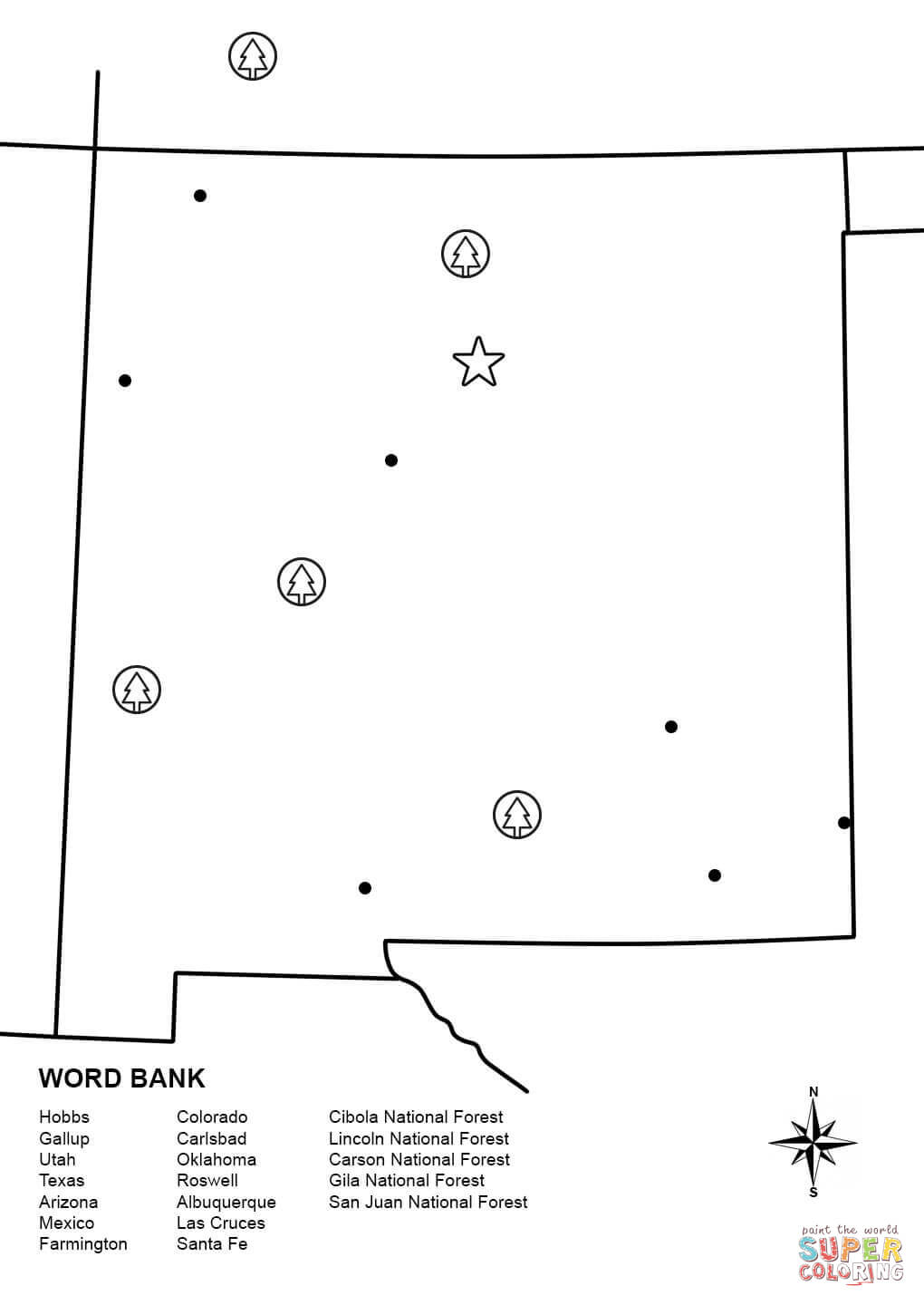 new mexico map worksheet coloring page free printable coloring pages