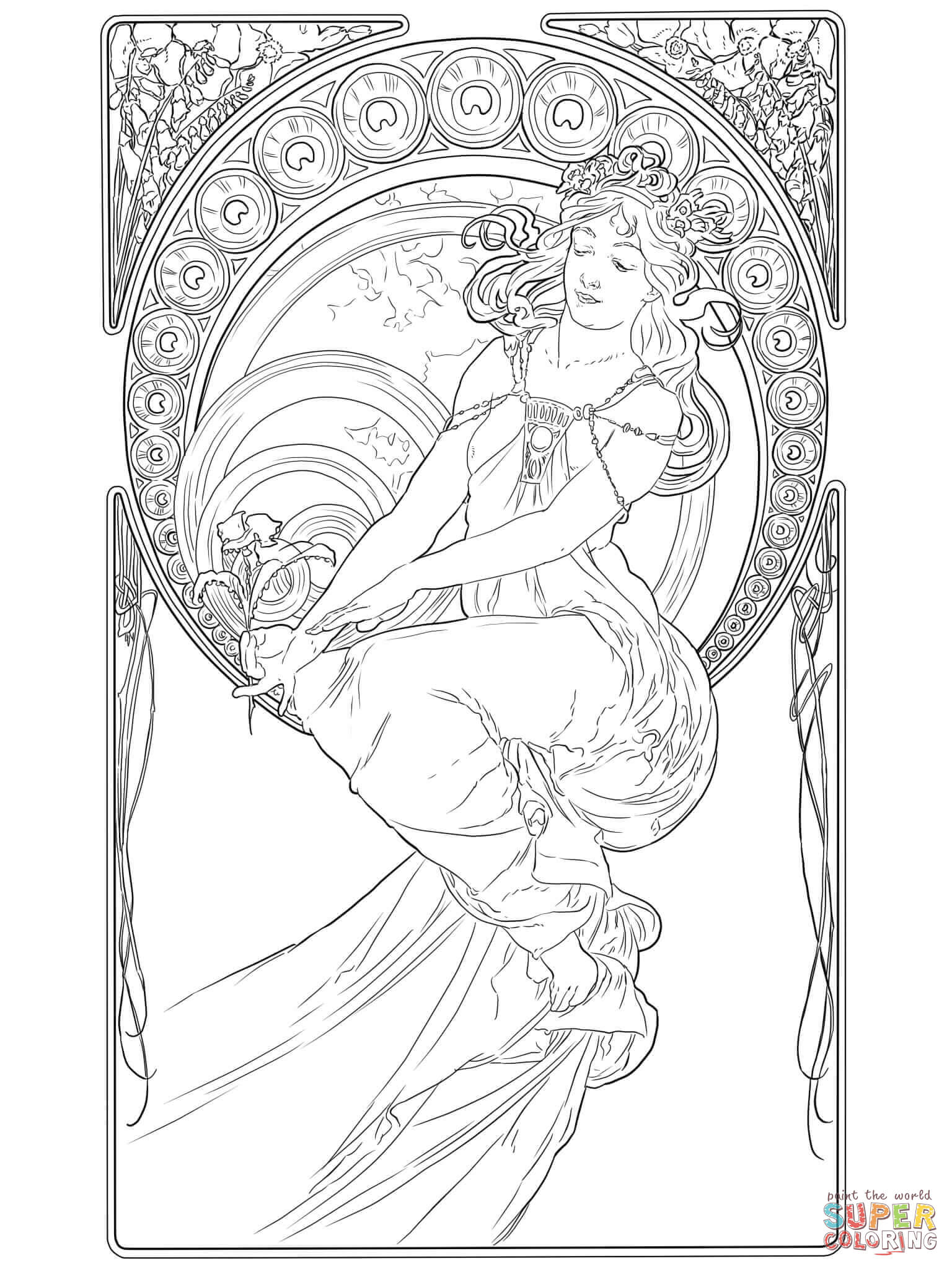 by alphonse mucha free printable pages