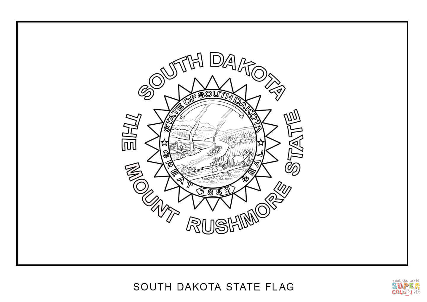 South Dakota State Flag Coloring Page
