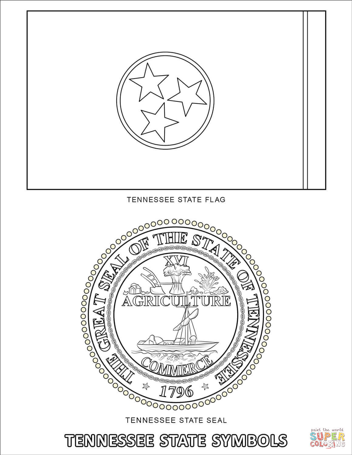 Tennessee State Symbols Coloring Page