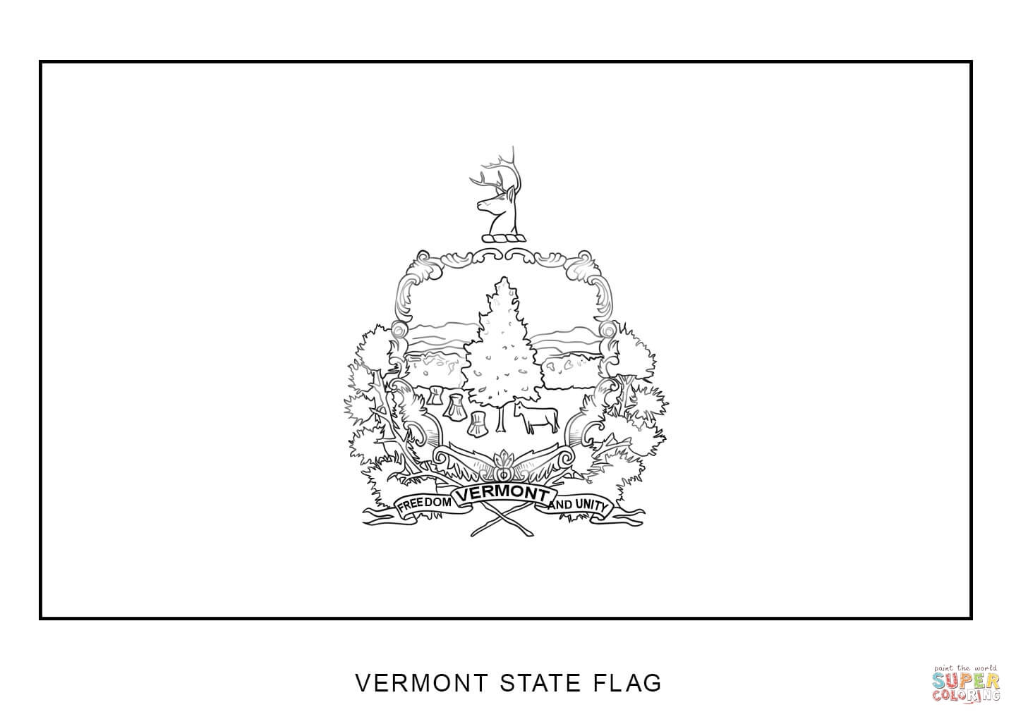 Vermont State Flag Coloring Page
