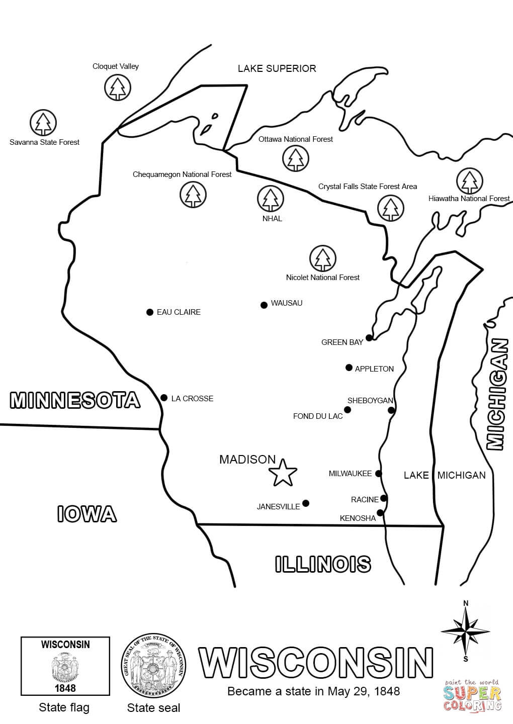 Wisconsin State Map Coloring Page Free Printable Coloring Pages