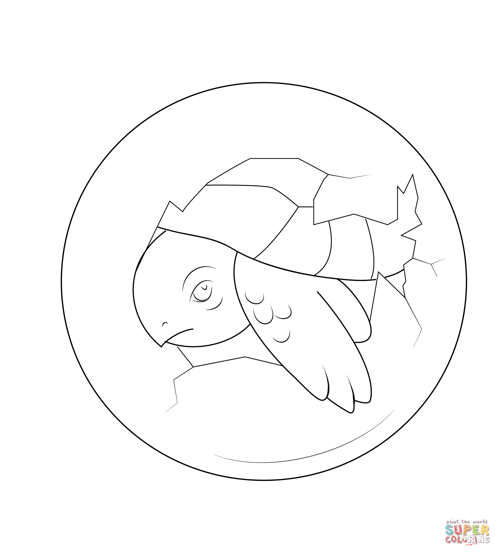 Baby Turtle Hatching From Egg Coloring Page