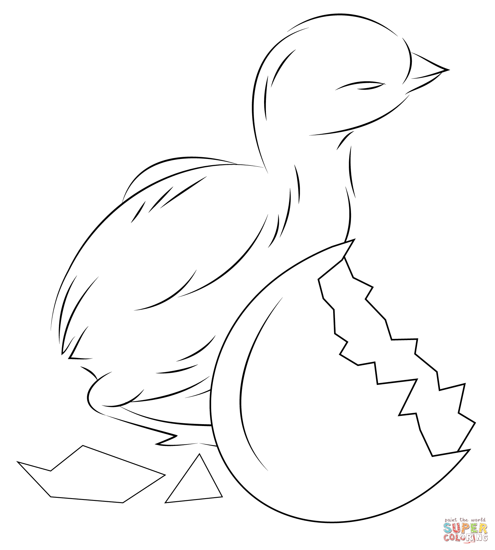 baby chick hatching from egg coloring page free printable