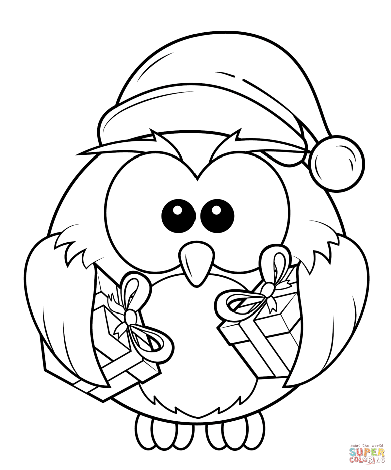 christmas owl with gift boxes coloring page | free printable