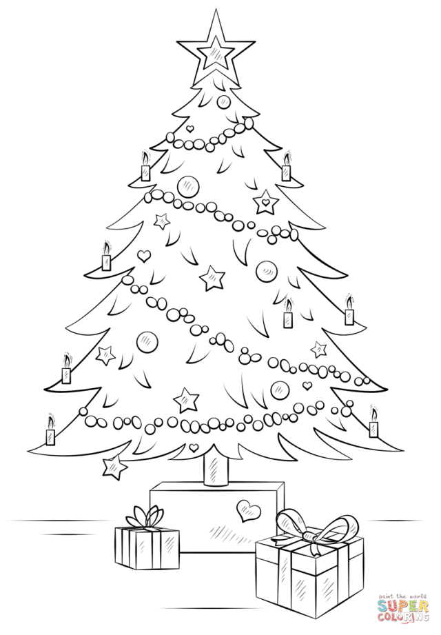 Christmas Tree with Gift Boxes coloring page  Free Printable