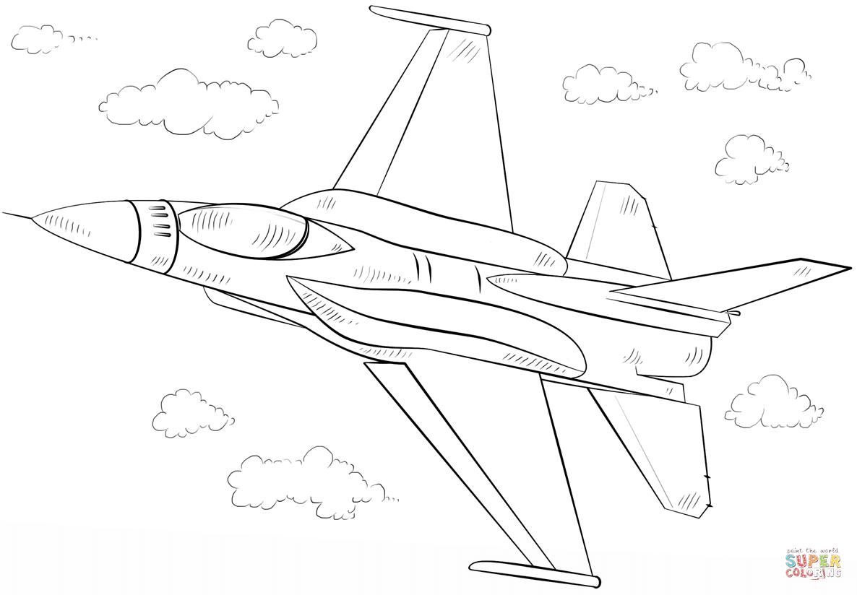 Kolorowanka Samolot F 16 Fighting Falcon