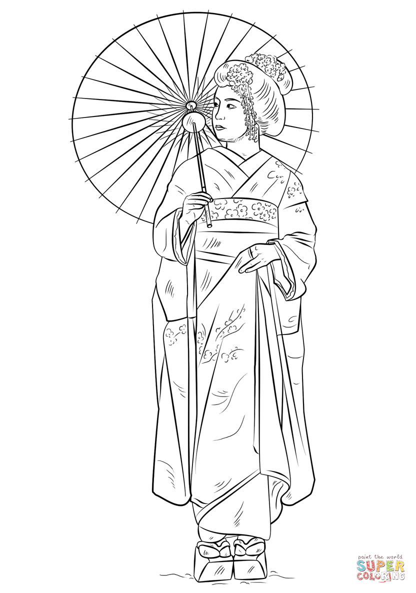 japanese girl in traditional dress coloring page free printable