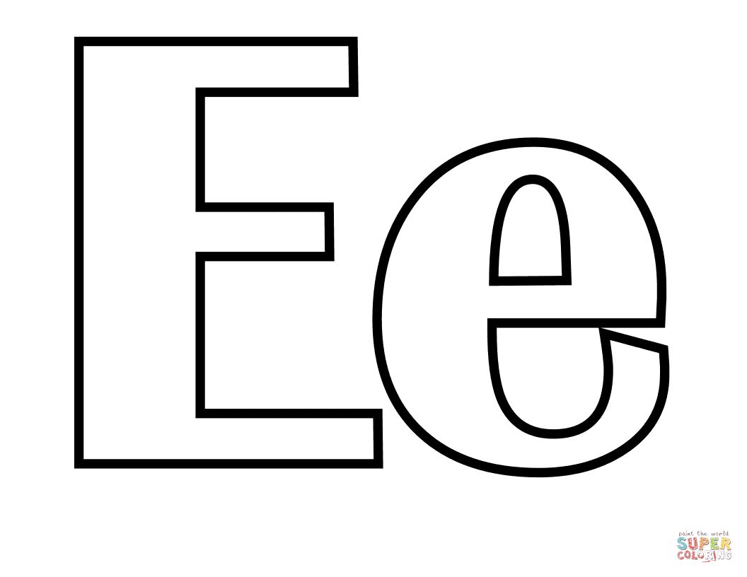 classic letter e coloring page free printable coloring pages
