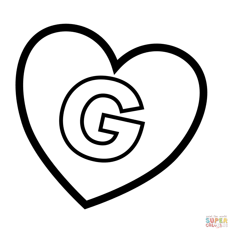 letter g in heart coloring page free printable coloring pages