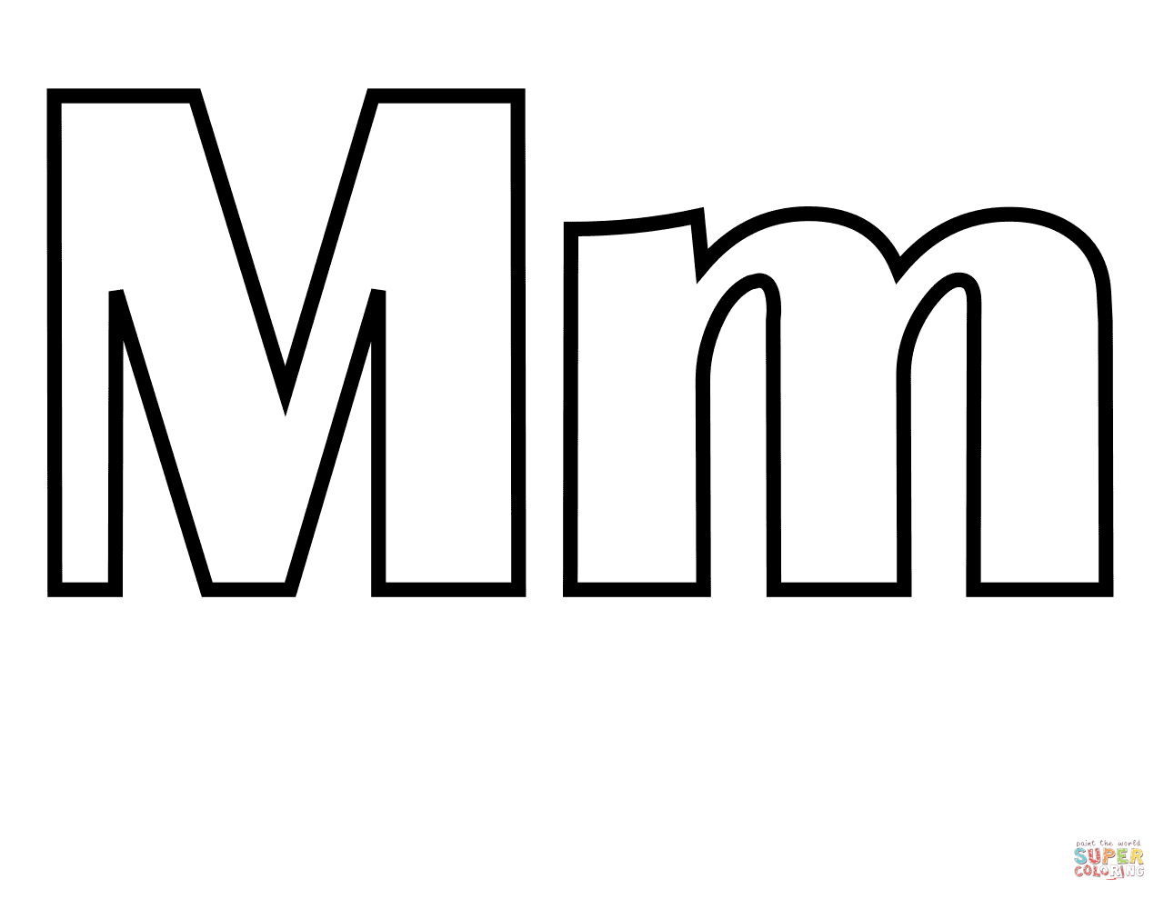 Classic Letter M Coloring Page