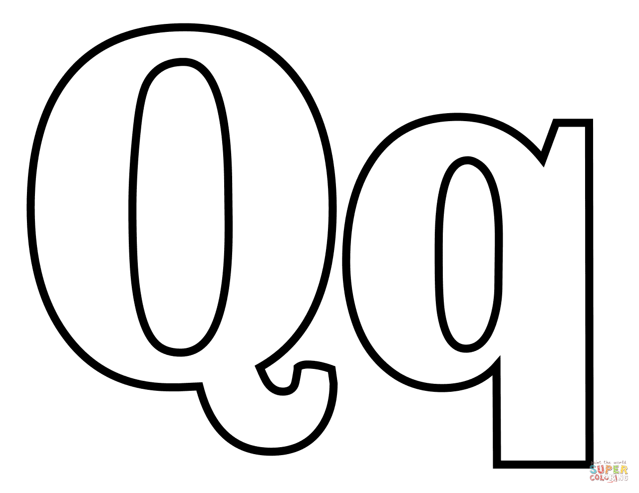 Classic Letter Q Coloring Page