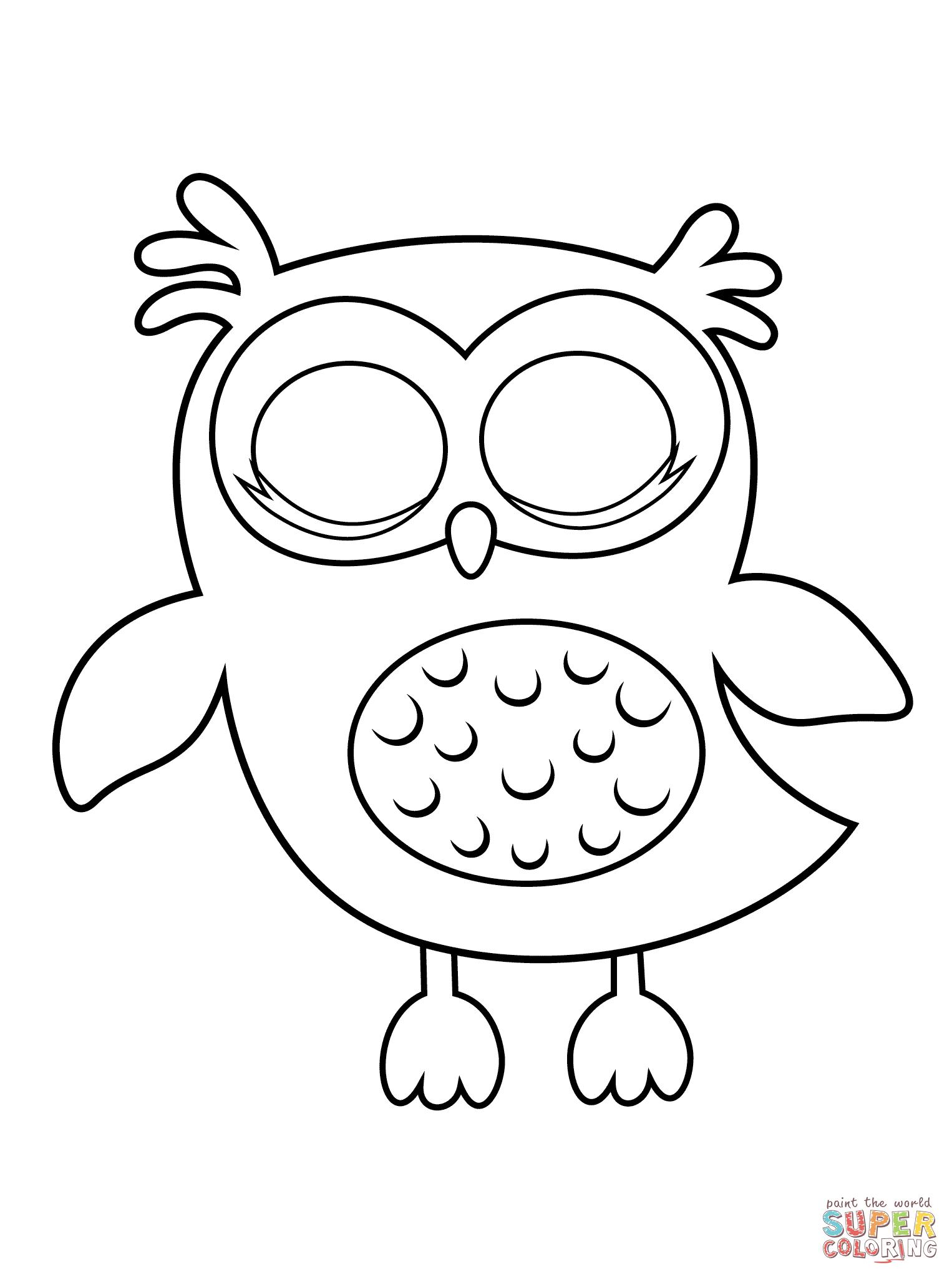 Sleepy Owl Coloring Page