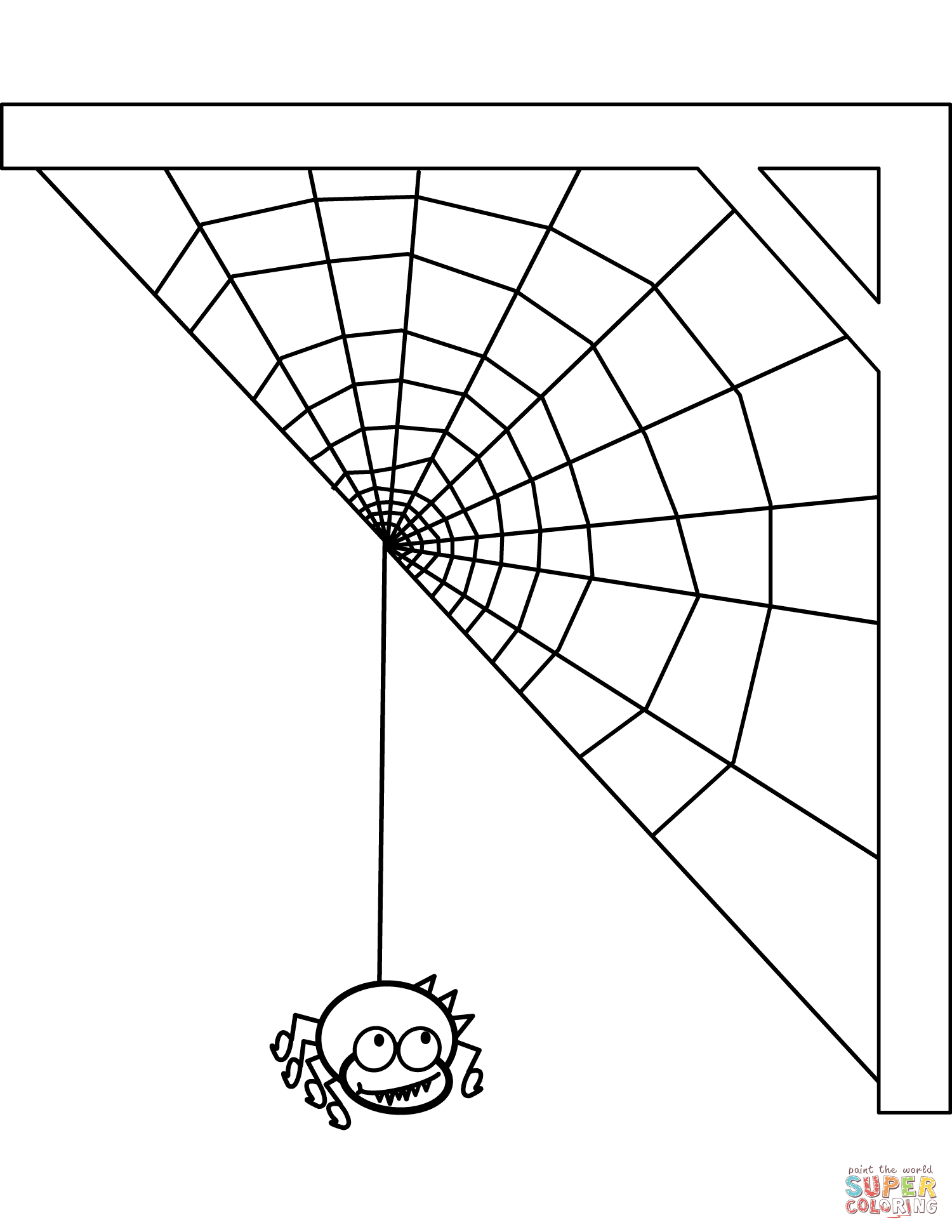 spider and spiderweb coloring page free printable coloring pages