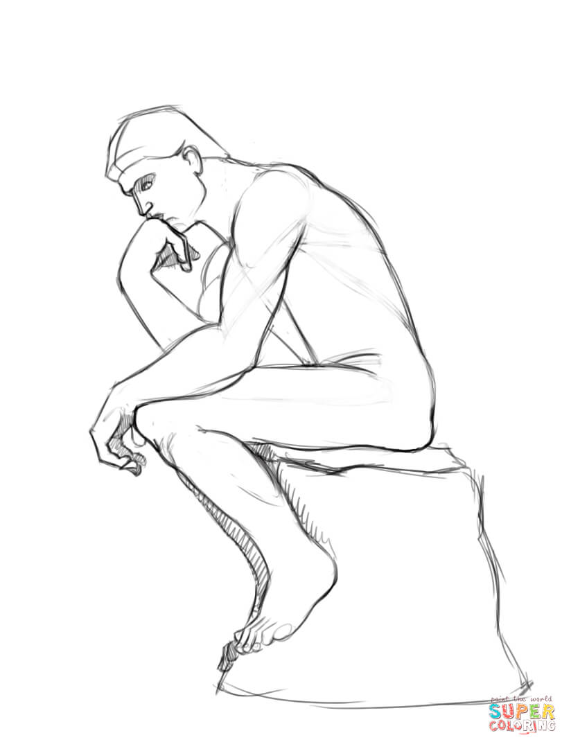 The Thinker Statue By Auguste Rodin Coloring Page Free