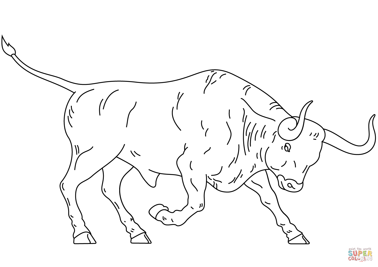 Spanish Fighting Bull Coloring Page