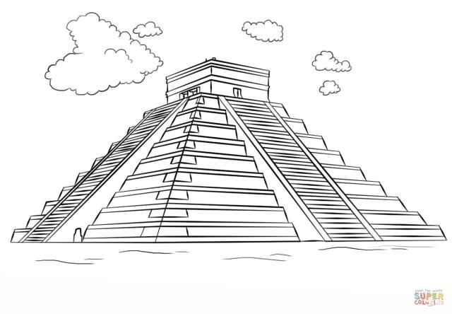 Mayan pyramid - Chichen Itza coloring page  Free Printable
